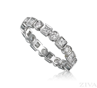 Ziva Antique Style Eternity Ring with Princess Cut & Round Diamonds
