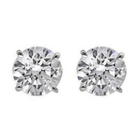 1.5 Ctw Diamond Stud Earrings Gh/si1-si2 (14k White Gold)