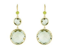 Herco 14k Yellow Gold Green Amethyst Earrings