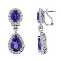 24.08 Ct Tanzanite & Diamond Dangle Earrings (rd 4.38cttw, Tz 6.12cttw, Tz 13.58cttw)