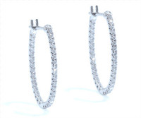 0.98 cttw Diamond Hoop Earrings In 18k White Gold