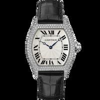 Cartier Tortue Large (WG Diamonds/ Silver/Leather)