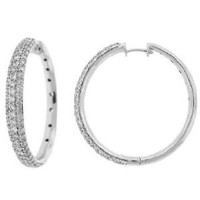 4.50ct Pave Diamond Hoop Earrings Inside Out