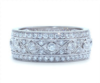 8 mm Diamond Ring In 18k White Gold