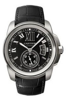 Cartier Calibre De Cartier (SS/Black/Leather Strap)