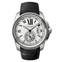 Cartier Calibre De Cartier (SS/Silver/Leather Strap)