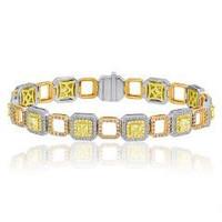 7.13 Ct Fancy Color Diamond Bracelet (ydrad 3.50ct, Rd 1.66ct Pink 1.07ct, Fyrd 0.90ct)
