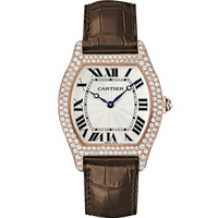 Cartier Tortue Large (RG Diamonds/ Silver/Leather)