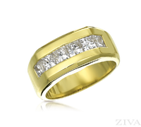 Ziva Large Men's Ring with Princess Cut Diamonds