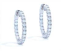 2.72 cttw Diamond Hoop Earrings In 14k White Gold