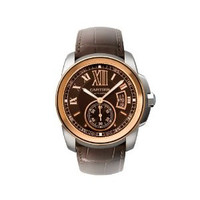 Cartier Calibre de Cartier Brown Dial Pink Gold Bezel Automatic Mens Watch W7100051