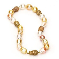 Multi Color Baroque South Sea Pearl Necklace w/ Baroque Diamond Ball