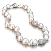 White Baroque South Sea Pearl Necklace w/ Baroque Diamond Ball