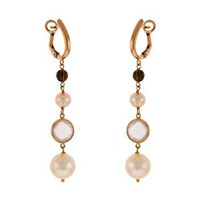 Herco 18k RG Quartz & Pearl Earrings