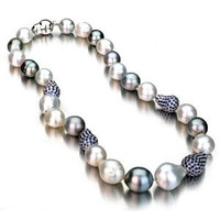 Multi Color Baroque South Sea Pearl Necklace w/ Sapphire Baroque Ball