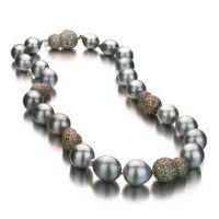 Grey Baroque Tahitian Pearl Necklace w/ Baroque Diamond Ball