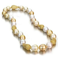 Multi Color Baroque South Sea Pearl Necklace w/ Yellow Sapphire Baroque Ball