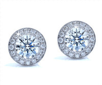 1.04 cttw Round Diamond Earrings In 18k White Gold