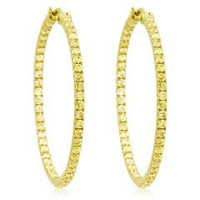 3.50 Ct Yellow Diamond Hoop Earrings Inside Out