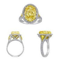 18k Yellow Gold & Platinum Diamond Ring (ydov 6.35ct, Fyrd 0.40ct, Rd 0.93ct)