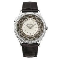 Patek Philippe Ladies World Time (WG- Diamonds/Ivory-Opaline/Leather Strap)