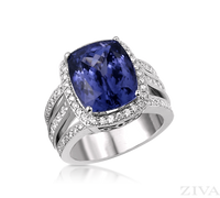 Ziva Vintage Cushion Cut Tanzanite Ring with Diamond Halo