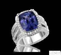 Ziva Vintage Cushion Cut Tanzanite Ring with Diamond Halo