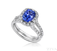 Ziva Tanzanite Ring with Diamond Halo & Two-Row Shank