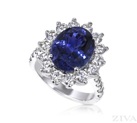 Ziva Large Tanzanite Ring with Diamond Halo & Diamond Shank