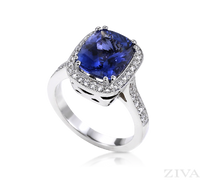Ziva Cushion Cut Tanzanite Ring with Diamond Halo