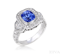 Ziva Vintage Sapphire Ring with Moon Shape & Pave Diamonds