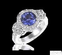 Ziva Tanzanite 3-Stone Ring in Diamond Halos