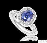 Ziva Cushion Cut Sapphire Ring with Diamond Halo