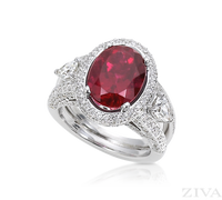 Ziva Rubelite Tourmaline Ring with Pave Halo & Split Shank
