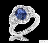 Ziva Sapphire Ring with Moon Cut Diamonds in Diamond Halos