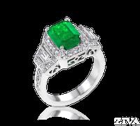 Ziva Vintage Emerald Cut Emerald Ring with Trapezoid & Pave Diamonds