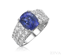 Ziva Cushin Cut Tanzanite Ring with Pave Shank