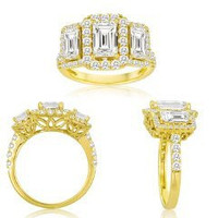 3.28 Ct Diamond Three Stone Engagement Ring (rd 0.97ct, Bg 1.25ct, Bg 1.06ct)