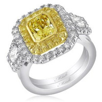 Mitali 3.19 CT TW Three Stone Canary Diamond Engagement Ring