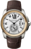 Cartier Calibre de Cartier ( SS-RG/Silver/Leather Strap)