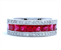 2.32 cttw Ruby & Diamond Ring In 18k White Gold