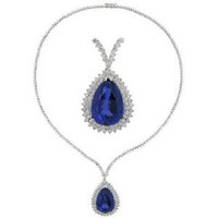38.76 Ct Tanzanite & Diamond Drop Necklace
