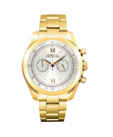Orefici Vintage Quartz Chronograph Yellow Gold Tone Silver Dial Watch