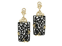 Jet Black Wood Rectangular-Shaped Earring