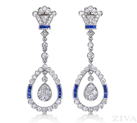 Ziva Art Deco Sapphire Earrings
