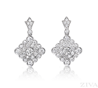 Ziva Antique Style Diamond Cluster Earrings