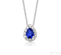 Ziva Pear Sapphire Pendant with Diamond Halo