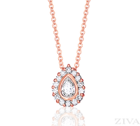 Ziva Pear Shaped Diamond Pendant in Rose Gold