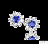 Ziva Sapphire Studs with Halo