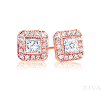 Ziva Princess Cut Earrings with Halo in Rose Gold